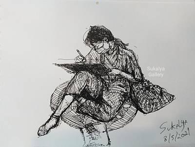 Drawings Royalty Free Images - A Student Royalty-Free Image by Sukalya Chearanantana