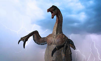 Animals Digital Art - A Therizinosaurus Attacks During a Chaotic Thunderstorm by Derrick Neill