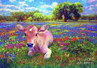 Landscapes Royalty Free Images - A  Very Content Cow Royalty-Free Image by Jane Small