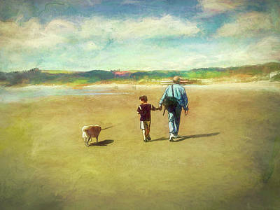 Digital Art - A Walk at Cannon Beach by Debbie Smith