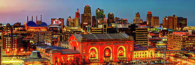 Sports Royalty-Free and Rights-Managed Images - A Winning Skyline - Kansas City Missouri Panorama by Gregory Ballos