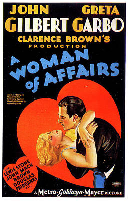 Mixed Media Royalty Free Images - A Woman of Affairs movie poster 1928 Royalty-Free Image by Stars on Art