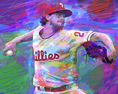 Royalty-Free and Rights-Managed Images - Aaron Nola Phillies by David Lloyd Glover