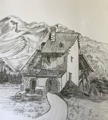 Drawings Royalty Free Images - Abandoned in the Alps Royalty-Free Image by Tony Clark