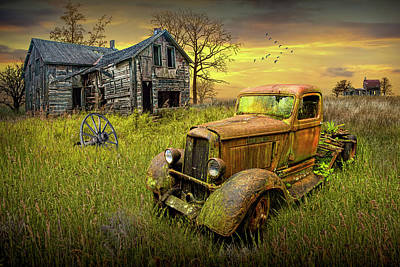 Urban Abstracts Royalty Free Images - Abandoned Pickup Truck and Farm House at Sunset Royalty-Free Image by Randall Nyhof