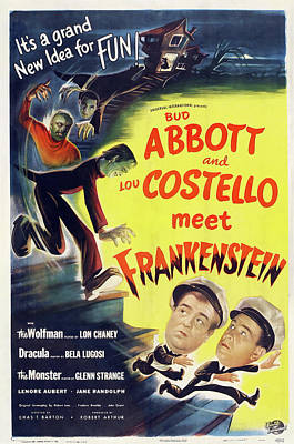 Typography Tees - Abbott and Costello Meet Frankenstein, 1948 by Stars on Art