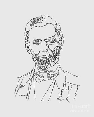 Typographic World - Abraham Lincoln Drawing by Hailey E Herrera