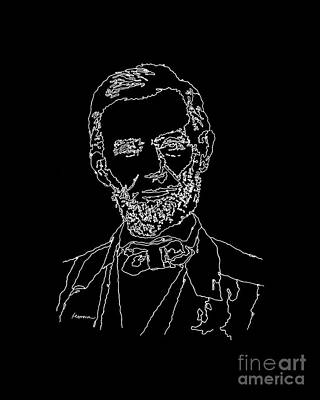 Typographic World - Abraham Lincoln Drawing on black by Hailey E Herrera