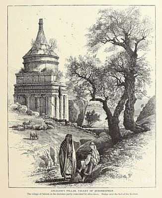 Beach House Signs - Absaloms Pillar, Valley of Jehoshaphat, Jerusalem c1 by Historic illustrations