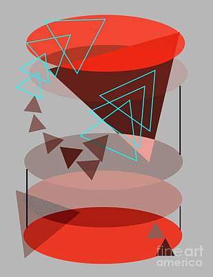 Mixed Media Royalty Free Images - Abstract Art Circles and Triangles Royalty-Free Image by Sarah Niebank