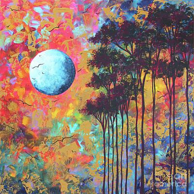 Painting - Abstract Art Original Tree Moon Landscape Painting Prints Home Decor Megan Duncanson by Megan Duncanson