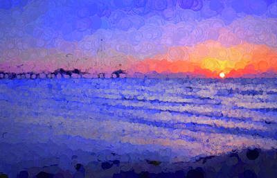 Keith Richards - Abstract Beach Sunrise by Judy Vincent