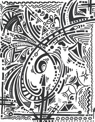 Drawing - Abstract Black and White MAD Doodle Sharpie Graffiti Drawing Original Sketch Art Megan Duncanson by Megan Duncanson