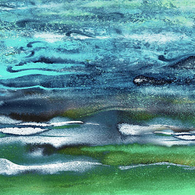 Bringing The Outdoors In - Abstract Blue Turquoise Emerald Ocean Waves Watercolor Seascape by Irina Sztukowski