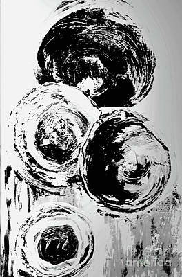 Farm Life Paintings Rob Moline - Abstract Bubbles Black and White by Sharon Williams Eng