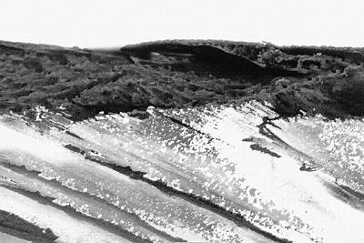 Mixed Media Royalty Free Images - Abstract Coast in Black and White Royalty-Free Image by Sharon Williams Eng