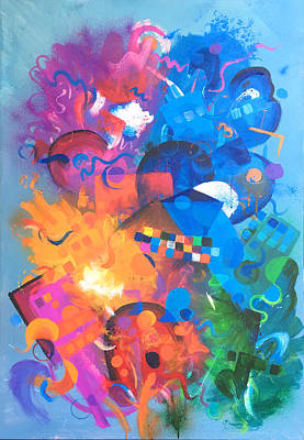 Painting - Abstract Color Shapes by Robert Korhonen