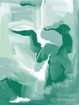Classic Christmas Movies - Abstract Expressionism Emerald and White by Sarah Niebank