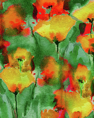 Safari - Abstract Floral Watercolor Painting Bright Red And Yellow Poppy Field by Irina Sztukowski