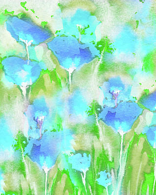 Royalty-Free and Rights-Managed Images - Abstract Floral Watercolor Painting Sunny Blue Wildflowers Field by Irina Sztukowski