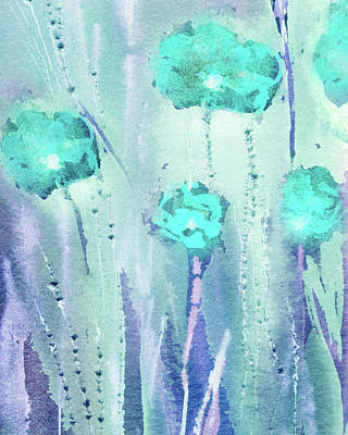 Safari - Abstract Floral Watercolor Painting Teal Blue Field Of Flowers by Irina Sztukowski