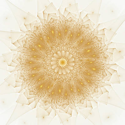 Modern Kitchen - Abstract Fractal Mandala Style Gold and White by Matthias Hauser