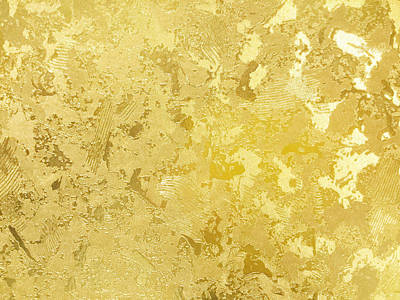 Royalty-Free and Rights-Managed Images - Abstract gold color painted on grunge rough surface of stucco concrete wall. Golden texture background and wallpaper by Julien