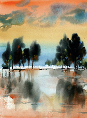 The Beach House - Abstract Landscape at Sunset by Sophia Rodionov