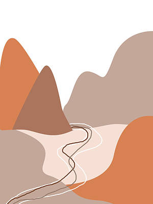 Abstract Royalty-Free and Rights-Managed Images - Abstract Mountains 01 - Modern, Minimal, Contemporary Abstract - Terracotta Brown - Landscape by Studio Grafiikka