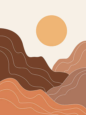 Abstract Royalty-Free and Rights-Managed Images - Abstract Mountains 02 - Modern, Minimal, Contemporary Abstract - Terracotta Brown - Landscape by Studio Grafiikka