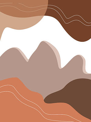 Royalty-Free and Rights-Managed Images - Abstract Mountains 03 - Modern, Minimal, Contemporary Abstract - Terracotta Brown - Landscape by Studio Grafiikka