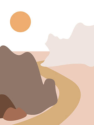 Abstract Royalty-Free and Rights-Managed Images - Abstract Mountains 04 - Modern, Minimal, Contemporary Abstract - Terracotta Brown - Landscape by Studio Grafiikka