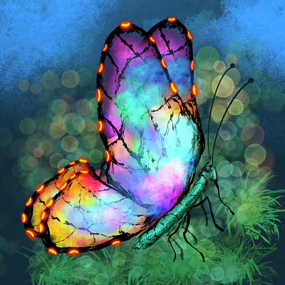 Fruits And Vegetables Still Life - Abstract Neon Butterfly by Gary F Richards