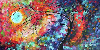 Painting - Abstract Original Landscape Tree Moon Painting Colorful Artwork Megan Duncanson by Megan Duncanson