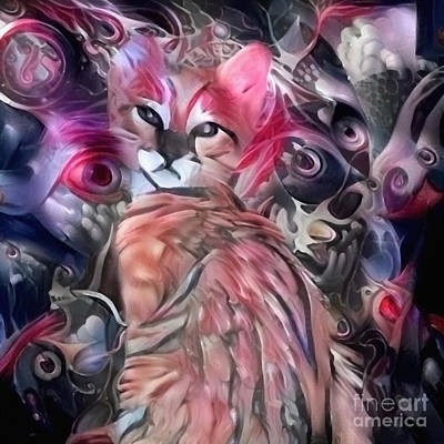 Surrealism Royalty-Free and Rights-Managed Images - Abstract painting. Cute kitten by Bruce Rolff