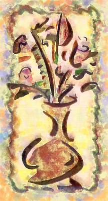 Still Life Royalty-Free and Rights-Managed Images - Abstract Vase of Flowers by Mario Carini
