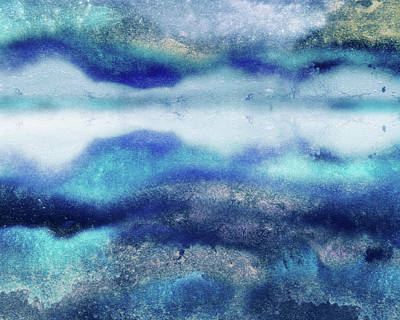 Bringing The Outdoors In - Abstract Water With Reflections Watercolor Decorative Art by Irina Sztukowski