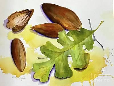 Animal Portraits - Acorns and Leaf by Hilda Vandergriff