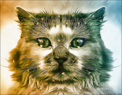 Surrealism Royalty Free Images - Acrylic Cat Royalty-Free Image by Robert Radmore