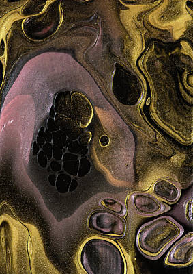 Sean Rights Managed Images - Acrylic Pour Painting Abstract Art Gold Black Pink Royalty-Free Image by Matthias Hauser