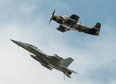 Surrealism Royalty Free Images - AD-4NA Skyraider  and an EF-18G Growler - Surreal Art Royalty-Free Image by Celestial Images