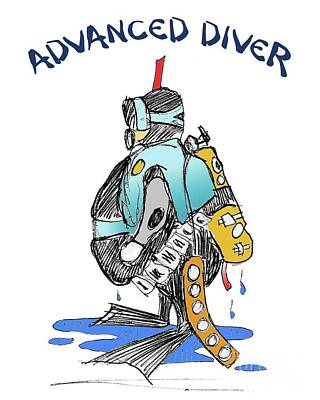 Mixed Media - Advanced Scuba Diver by Art MacKay