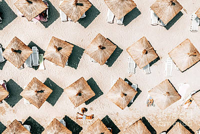 1-war Is Hell Royalty Free Images - Aerial Beach Umbrellas Art Print, Beach Print, Summer Vibes, Seaside Portugal, Seaside Coastal Print Royalty-Free Image by Radu Bercan
