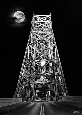 Photograph - Aerial Lift Bridge - Moon by Joe Polecheck