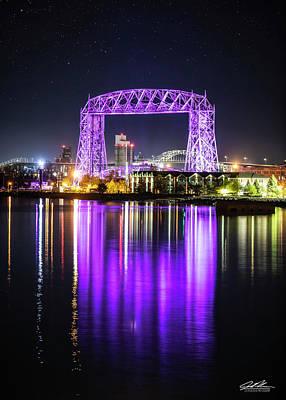 Photograph - Aerial Lift Bridge - Purple by Joe Polecheck
