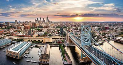 Vintage Movie Stars - Aerial panorama with Ben Franklin Bridge and Philadelphia skyline by Mihai Andritoiu