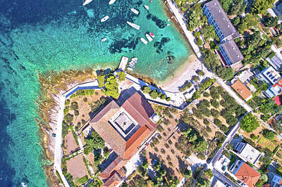 Moody Trees - Aerial view of Franciscan monastery and amazing turquoise beach  by Brch Photography