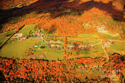 Wine Corks Royalty Free Images - Aerial view of Trapp Family Lodge during peak foliage season. Royalty-Free Image by Don Landwehrle