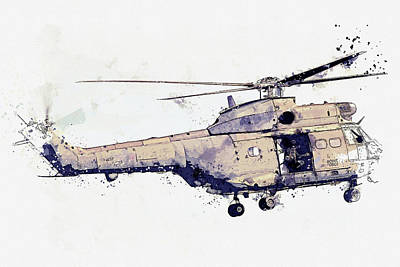 Unicorn Dust Royalty Free Images - Aerospatiale S Puma HC RAF Helicopter XW war planes in watercolor ca by Ahmet Asar  Royalty-Free Image by Celestial Images