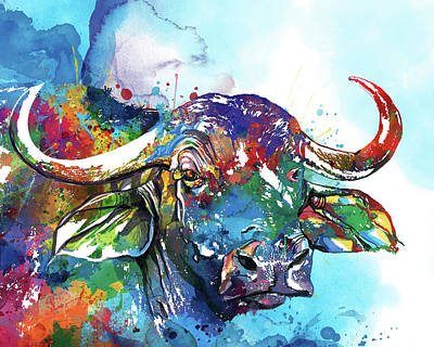 Animal Portraits - African Buffalo Colorful by Bekim M